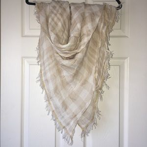 Gold and cream plaid Jcrew scarf for sale